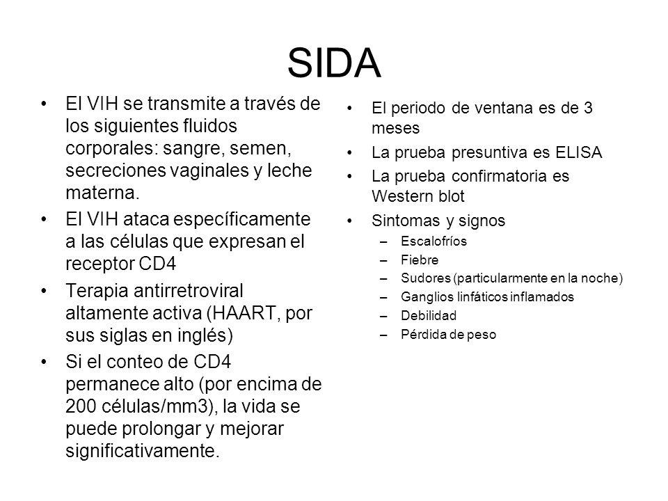 SIDA El VIH se transmite a través de los siguientes fluidos corporales: sangre, semen, secreciones vaginales y leche materna. El VIH ataca específicam