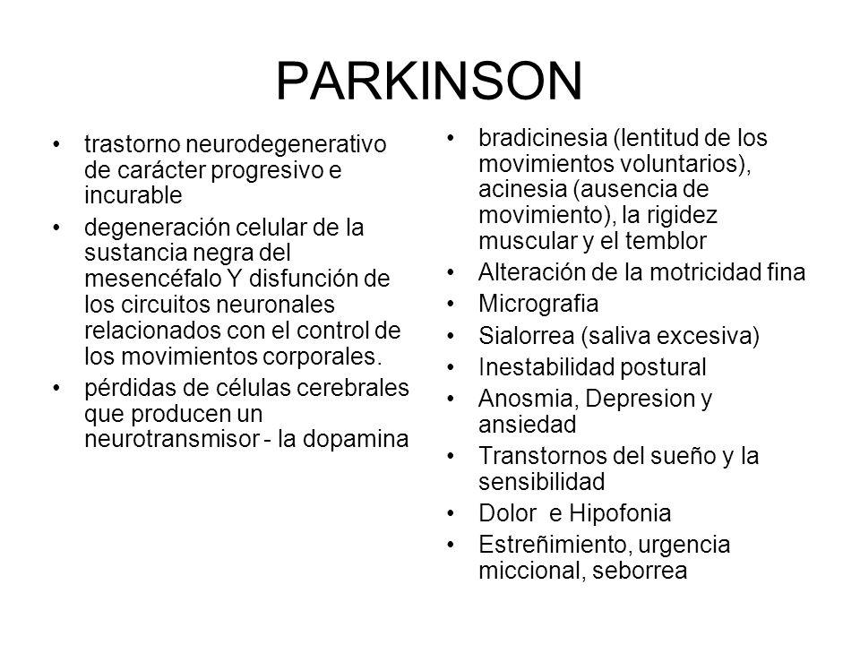 PARKINSON trastorno neurodegenerativo de carácter progresivo e incurable degeneración celular de la sustancia negra del mesencéfalo Y disfunción de los circuitos neuronales relacionados con el control de los movimientos corporales.