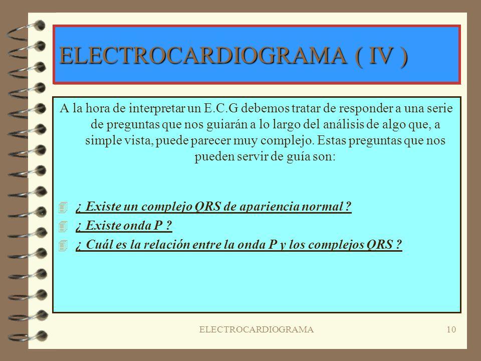 ELECTROCARDIOGRAMA9 DERIVACIONES PRECORDIALES o DE WILSON 4V4V1: 4º espacio intercostal derecho, línea paraesternal derecha. 4V4V2: 4º espacio interco