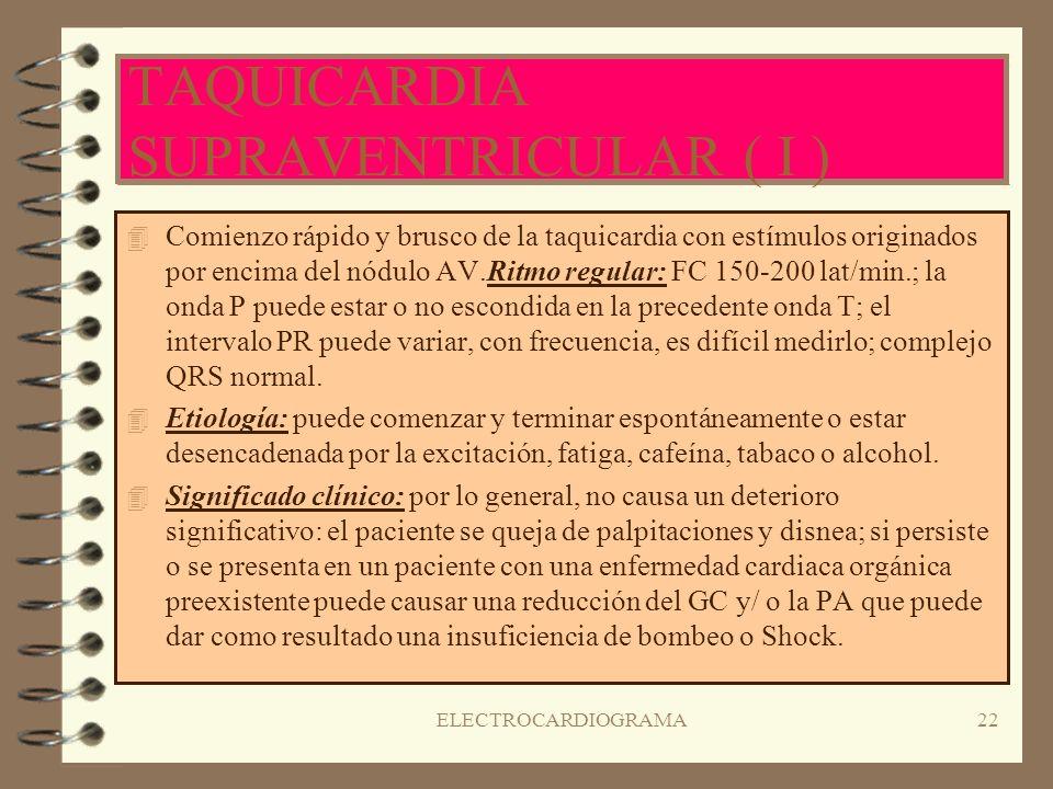 ELECTROCARDIOGRAMA21 CONTRACCIONES AURICULARES PREMATURAS ( II ) 4S4Significado clínico: pueden indicar un esfuerzo auricular o hipoxia; las contracci