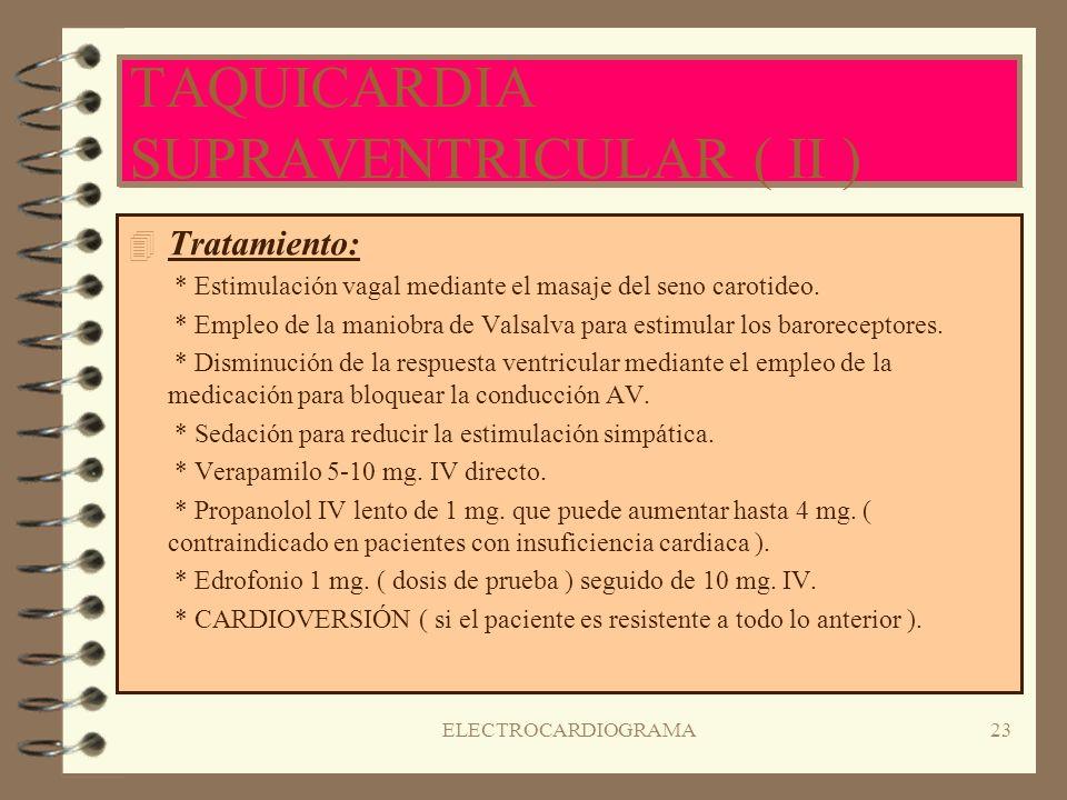 ELECTROCARDIOGRAMA22 TAQUICARDIA SUPRAVENTRICULAR ( I ) 4C4Comienzo rápido y brusco de la taquicardia con estímulos originados por encima del nódulo A