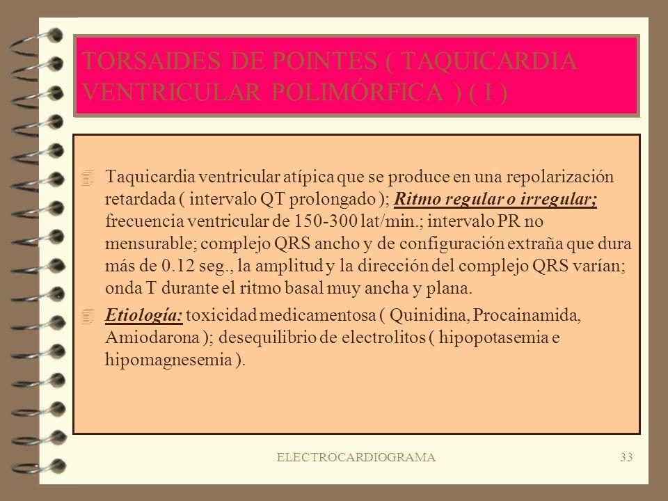 ELECTROCARDIOGRAMA32 TAQUICARDIA VENTRICULAR 4R4Ritmo ligeramente irregular: FC 100-120 lat/min.; onda P ausente; intervalo PR ausente; complejo QRS a