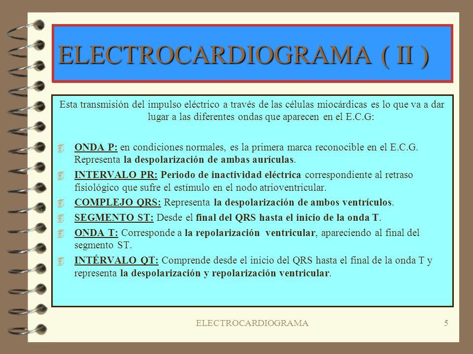 4 ELECTROCARDIOGRAMA ( I ) El electrocardiograma ( E.C.G o E.K.G ) representa la actividad eléctrica de un corazón normal.Este impulso es generado en