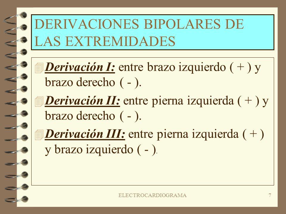 6 ELECTROCARDIOGRAMA ( III ) Un E.C.G normal está compuesto de doce derivaciones diferentes. Estas se dividen en tres grupos: 4D4Derivaciones bipolare