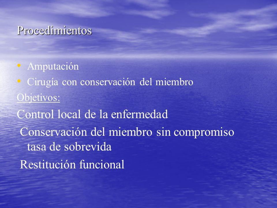 Procedimientos Amputación Cirugía con conservación del miembro Objetivos: Control local de la enfermedad Conservación del miembro sin compromiso tasa