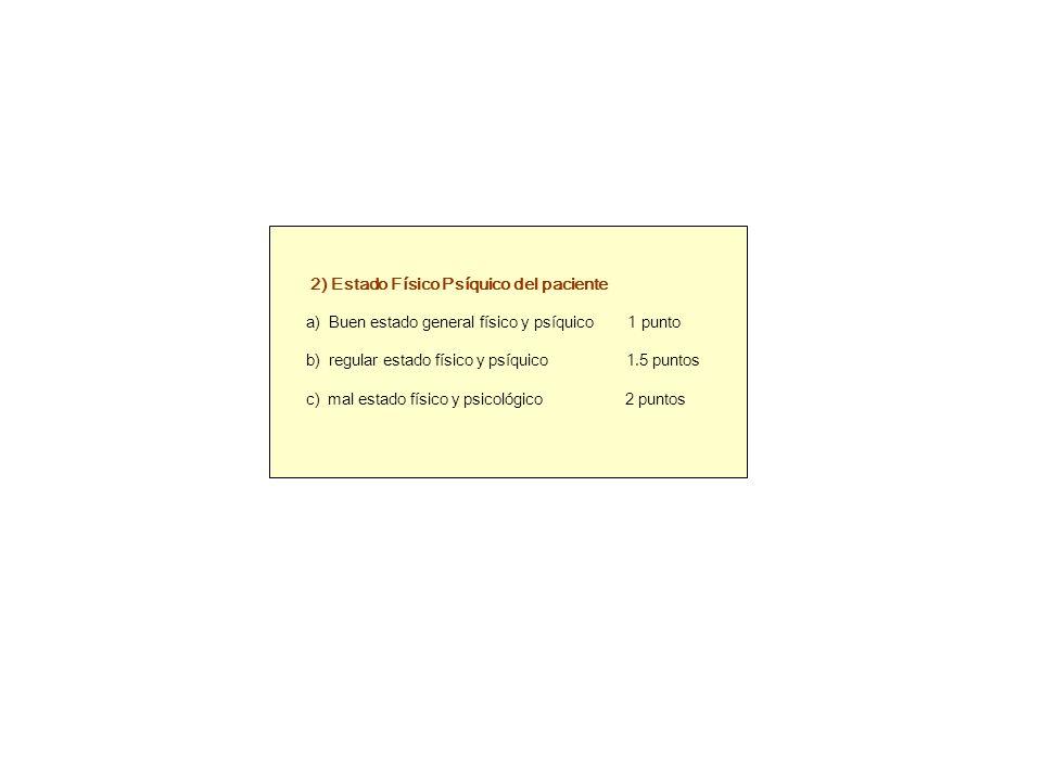 2) Estado Físico Psíquico del paciente a) Buen estado general físico y psíquico 1 punto b) regular estado físico y psíquico 1.5 puntos c) mal estado físico y psicológico 2 puntos