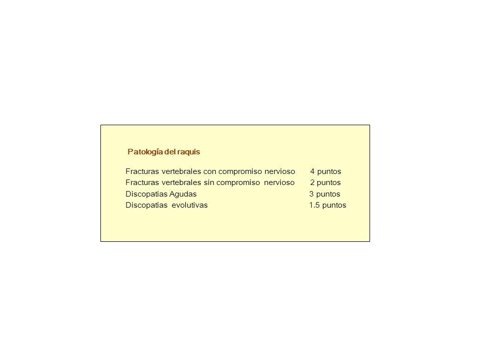 Patología del raquis Fracturas vertebrales con compromiso nervioso 4 puntos Fracturas vertebrales sin compromiso nervioso 2 puntos Discopatias Agudas 3 puntos Discopatias evolutivas 1.5 puntos