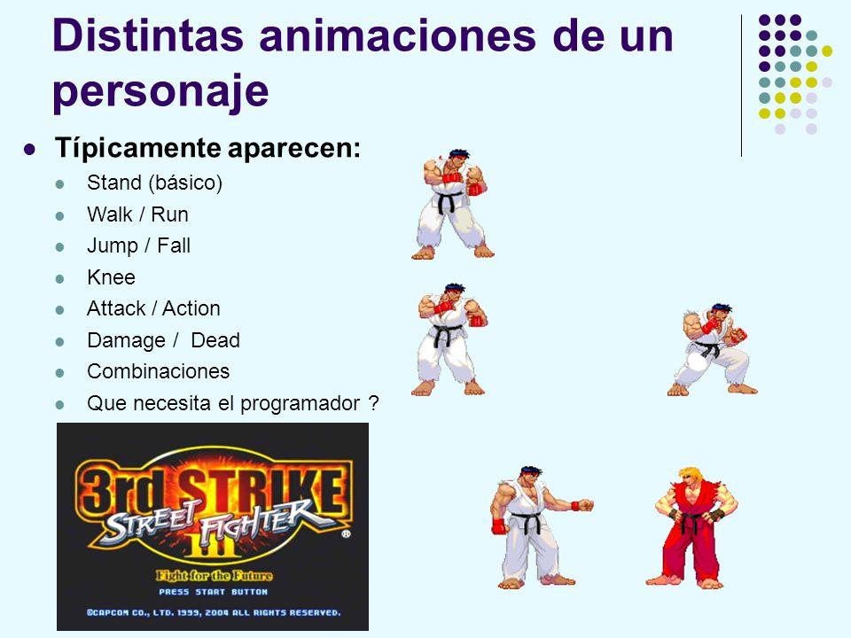 Distintas animaciones de un personaje Típicamente aparecen: Stand (básico) Walk / Run Jump / Fall Knee Attack / Action Damage / Dead Combinaciones Que