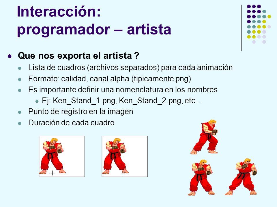 Interacción: programador – artista Que nos exporta el artista ? Lista de cuadros (archivos separados) para cada animación Formato: calidad, canal alph