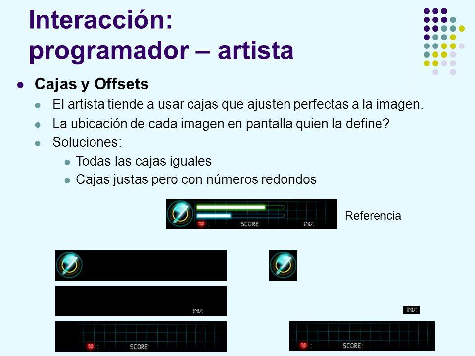 Interacción: programador – artista Cajas y Offsets El artista tiende a usar cajas que ajusten perfectas a la imagen. La ubicación de cada imagen en pa