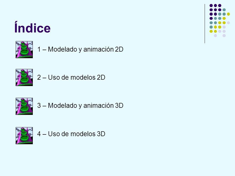 Índice 1 – Modelado y animación 2D 2 – Uso de modelos 2D 3 – Modelado y animación 3D 4 – Uso de modelos 3D