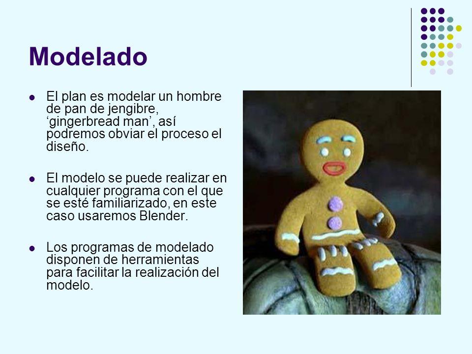 Modelado El plan es modelar un hombre de pan de jengibre, gingerbread man, así podremos obviar el proceso el diseño. El modelo se puede realizar en cu