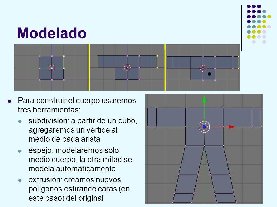 Modelado Para construir el cuerpo usaremos tres herramientas: subdivisión: a partir de un cubo, agregaremos un vértice al medio de cada arista espejo: