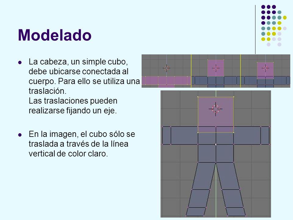 Modelado La cabeza, un simple cubo, debe ubicarse conectada al cuerpo. Para ello se utiliza una traslación. Las traslaciones pueden realizarse fijando