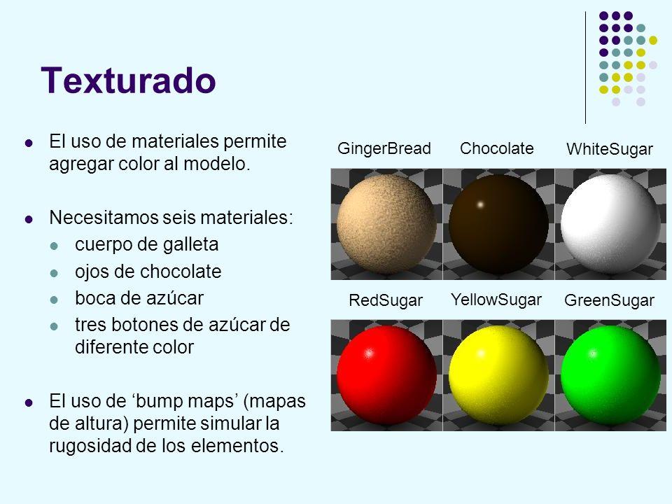 Texturado El uso de materiales permite agregar color al modelo. Necesitamos seis materiales: cuerpo de galleta ojos de chocolate boca de azúcar tres b