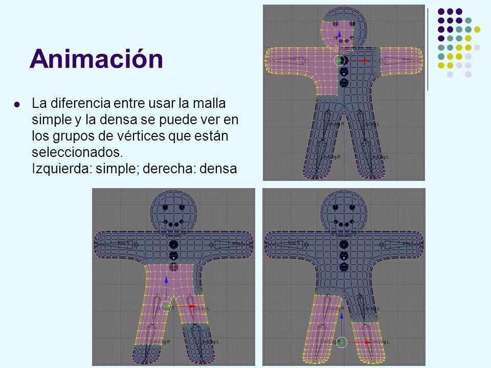 Animación La diferencia entre usar la malla simple y la densa se puede ver en los grupos de vértices que están seleccionados. Izquierda: simple; derec