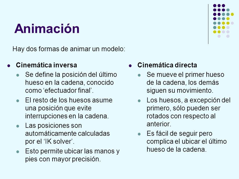 Animación Cinemática inversa Se define la posición del último hueso en la cadena, conocido como efectuador final. El resto de los huesos asume una pos