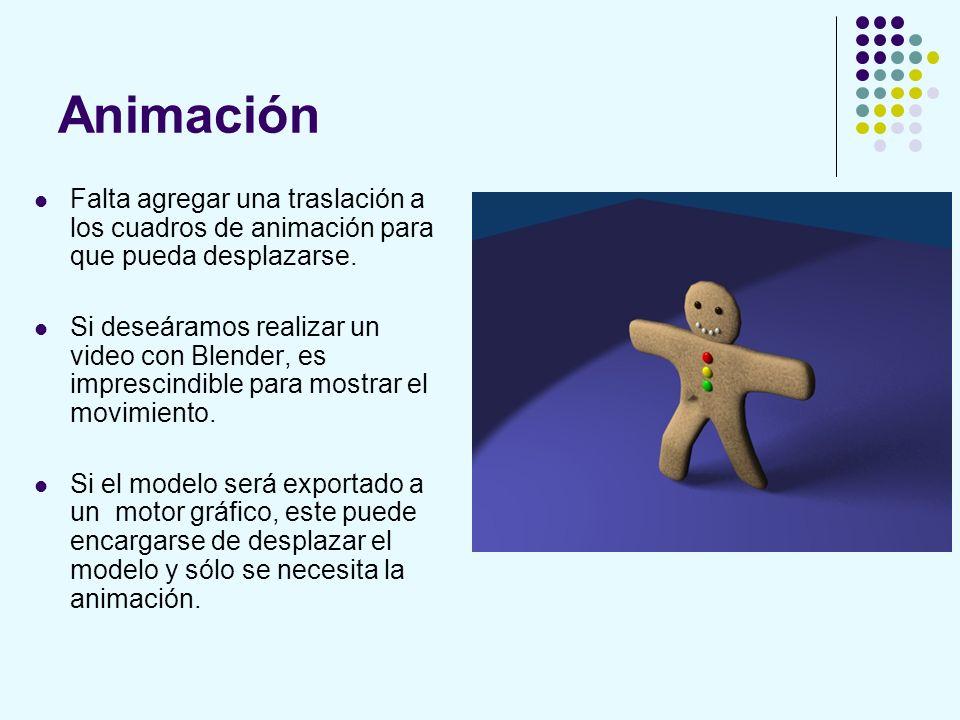 Animación Falta agregar una traslación a los cuadros de animación para que pueda desplazarse. Si deseáramos realizar un video con Blender, es impresci