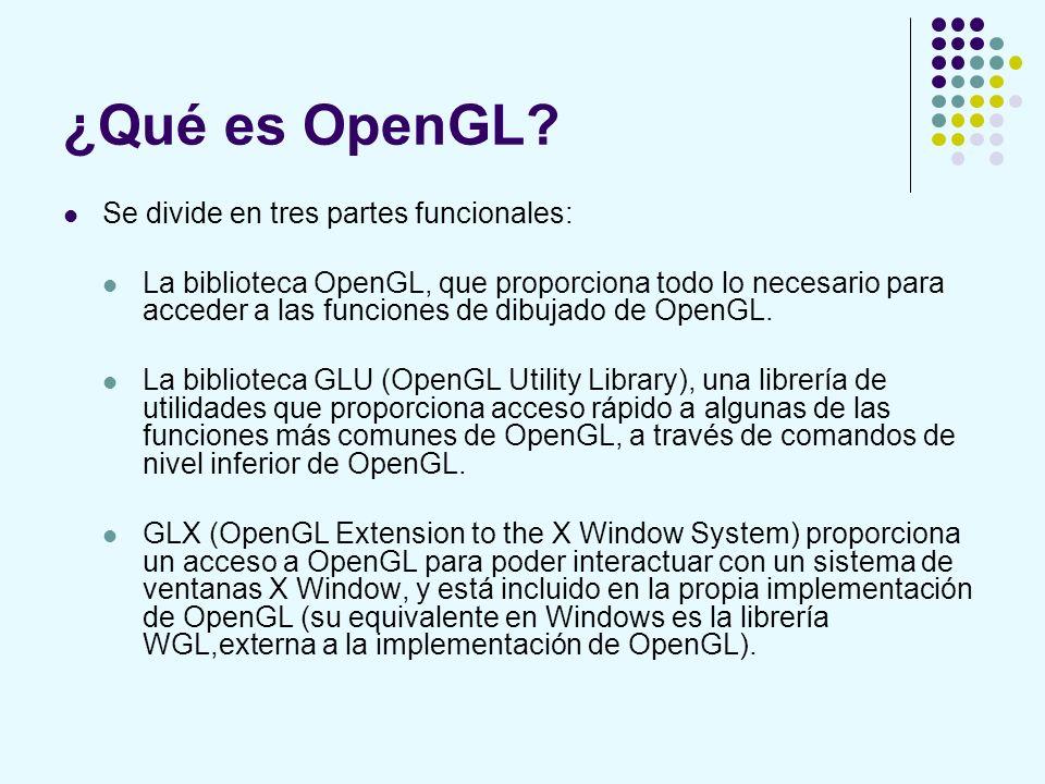 ¿Qué es OpenGL? Se divide en tres partes funcionales: La biblioteca OpenGL, que proporciona todo lo necesario para acceder a las funciones de dibujado
