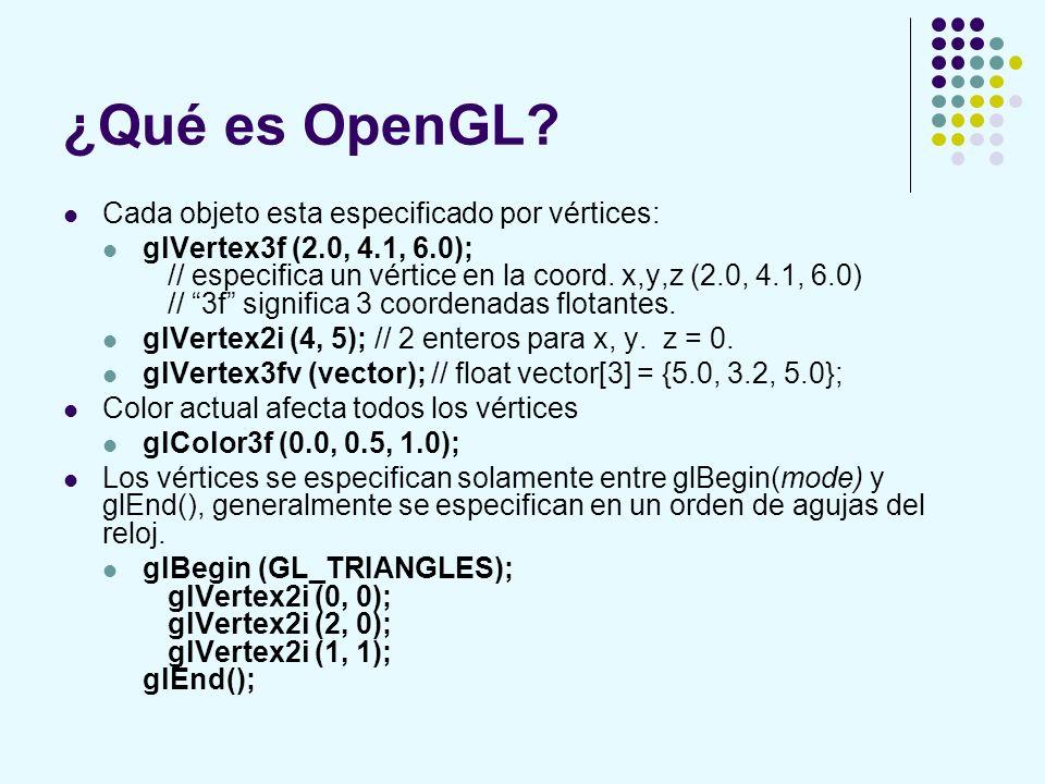 ¿Qué es OpenGL? Cada objeto esta especificado por vértices: glVertex3f (2.0, 4.1, 6.0); // especifica un vértice en la coord. x,y,z (2.0, 4.1, 6.0) //