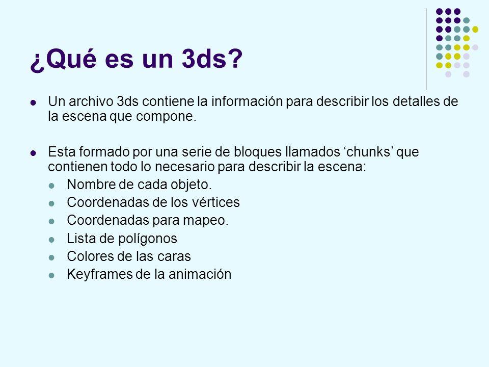 ¿Qué es un 3ds? Un archivo 3ds contiene la información para describir los detalles de la escena que compone. Esta formado por una serie de bloques lla