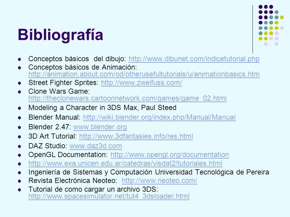 Bibliografía Conceptos básicos del dibujo: http://www.dibunet.com/indicetutorial.phphttp://www.dibunet.com/indicetutorial.php Conceptos básicos de Ani