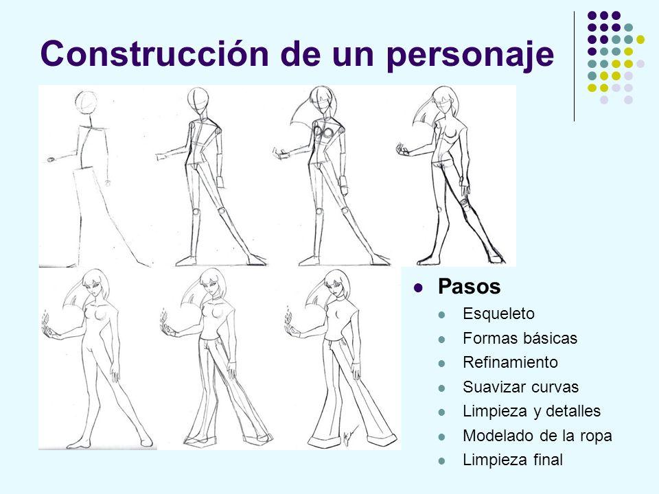 Construcción de un personaje Pasos Esqueleto Formas básicas Refinamiento Suavizar curvas Limpieza y detalles Modelado de la ropa Limpieza final