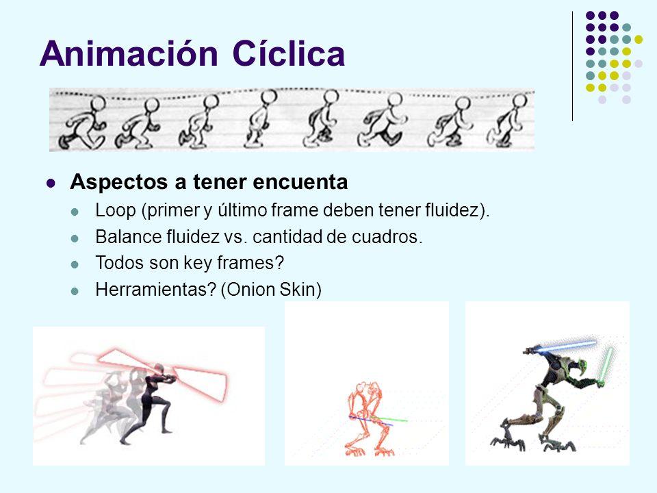 Animación Cíclica Aspectos a tener encuenta Loop (primer y último frame deben tener fluidez). Balance fluidez vs. cantidad de cuadros. Todos son key f