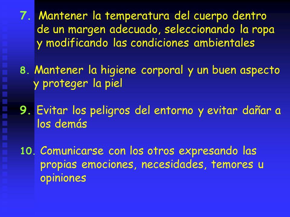 7. Mantener la temperatura del cuerpo dentro de un margen adecuado, seleccionando la ropa y modificando las condiciones ambientales 8. Mantener la hig