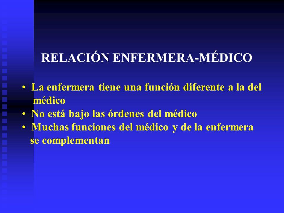 RELACIÓN ENFERMERA-MÉDICO La enfermera tiene una función diferente a la del médico No está bajo las órdenes del médico Muchas funciones del médico y de la enfermera se complementan