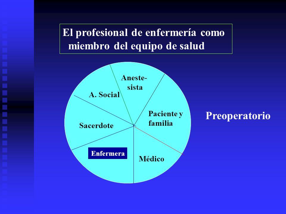 El profesional de enfermería como miembro del equipo de salud Enfermera Médico Paciente y familia Aneste- sista A.