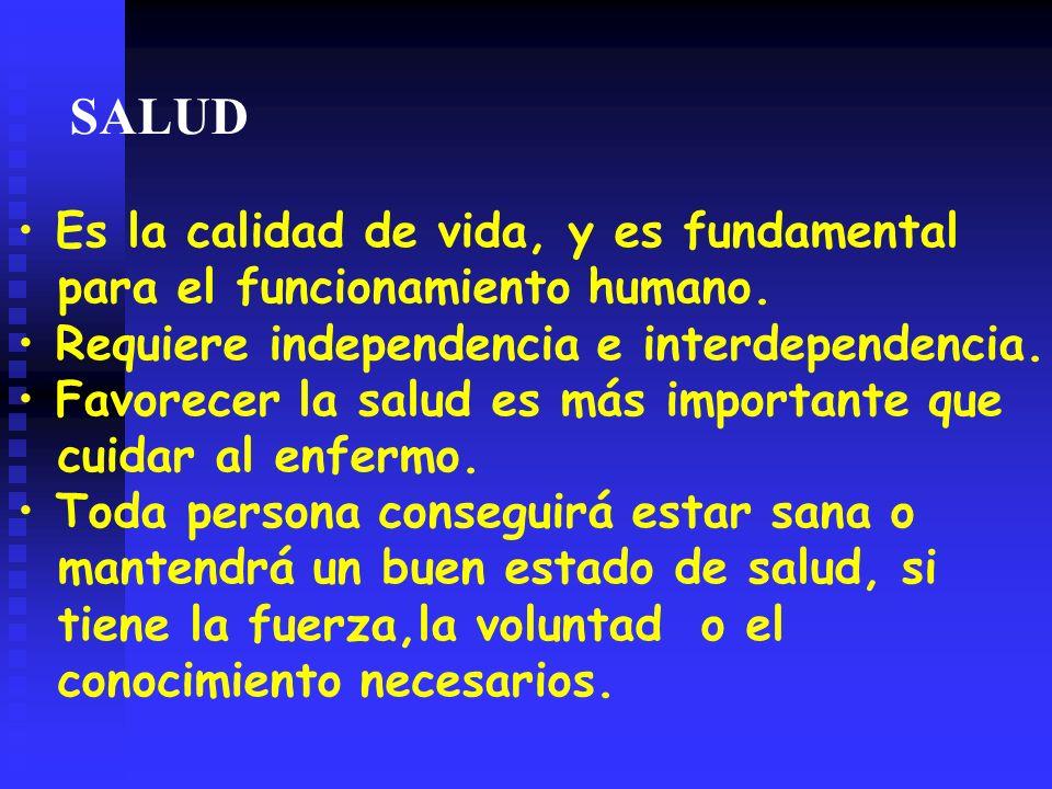 SALUD Es la calidad de vida, y es fundamental para el funcionamiento humano.