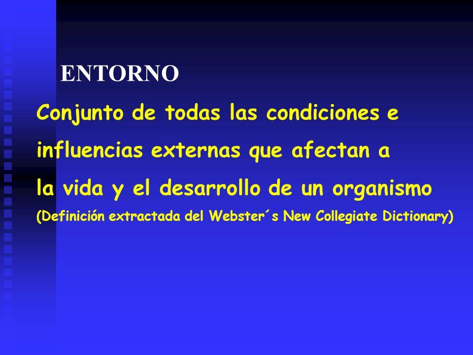 ENTORNO Conjunto de todas las condiciones e influencias externas que afectan a la vida y el desarrollo de un organismo (Definición extractada del Webster´s New Collegiate Dictionary)