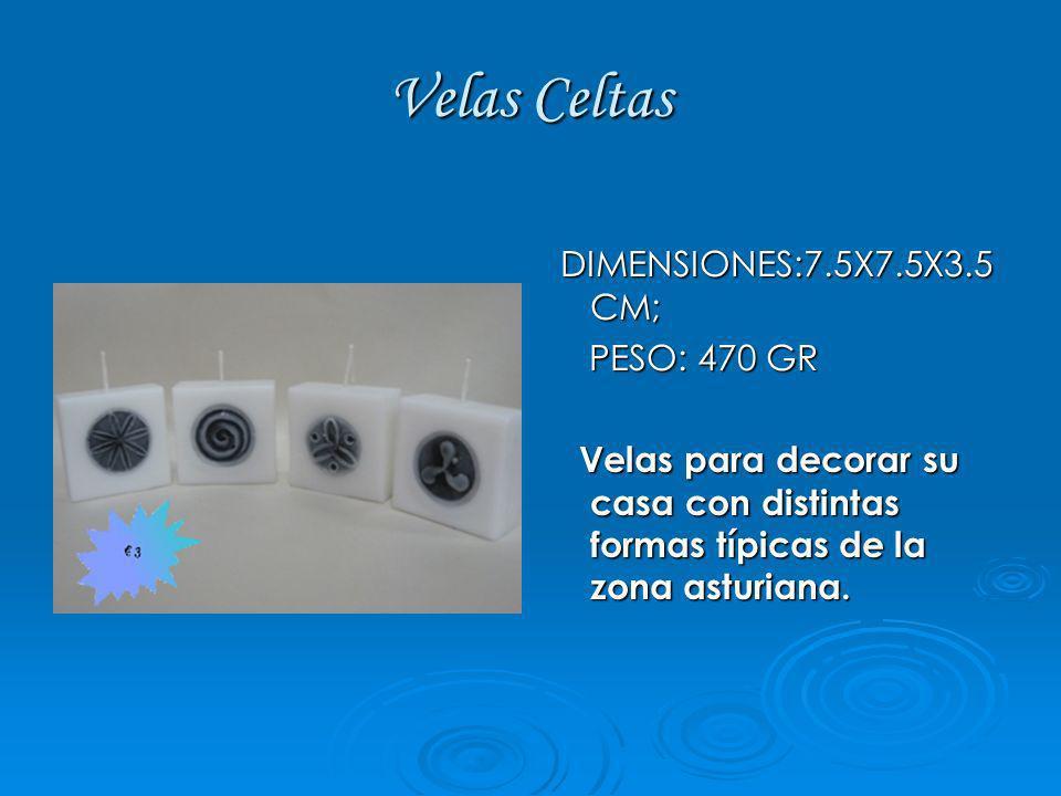 Velas Celtas DIMENSIONES:7.5X7.5X3.5 CM; DIMENSIONES:7.5X7.5X3.5 CM; PESO: 470 GR PESO: 470 GR Velas para decorar su casa con distintas formas típicas