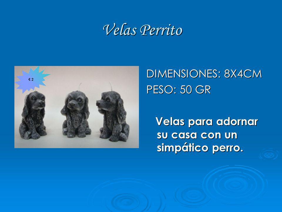 Velas Perrito DIMENSIONES: 8X4CM PESO: 50 GR Velas para adornar su casa con un simpático perro. Velas para adornar su casa con un simpático perro.