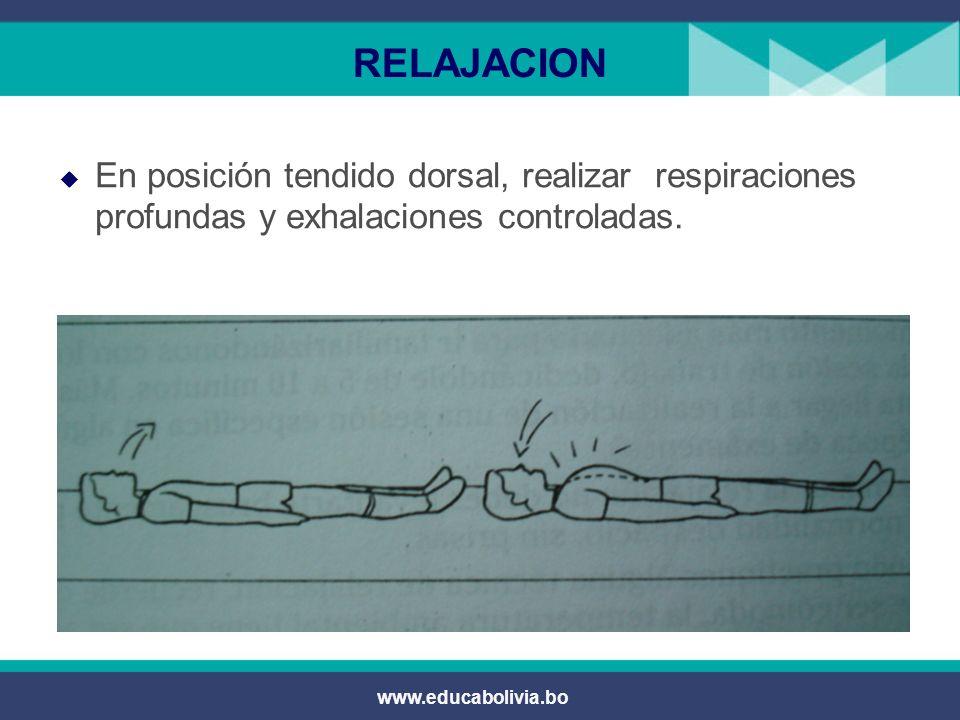 www.educabolivia.bo RELAJACION En posición de vela realizar el movimiento de piernas simulando el pedaleo.