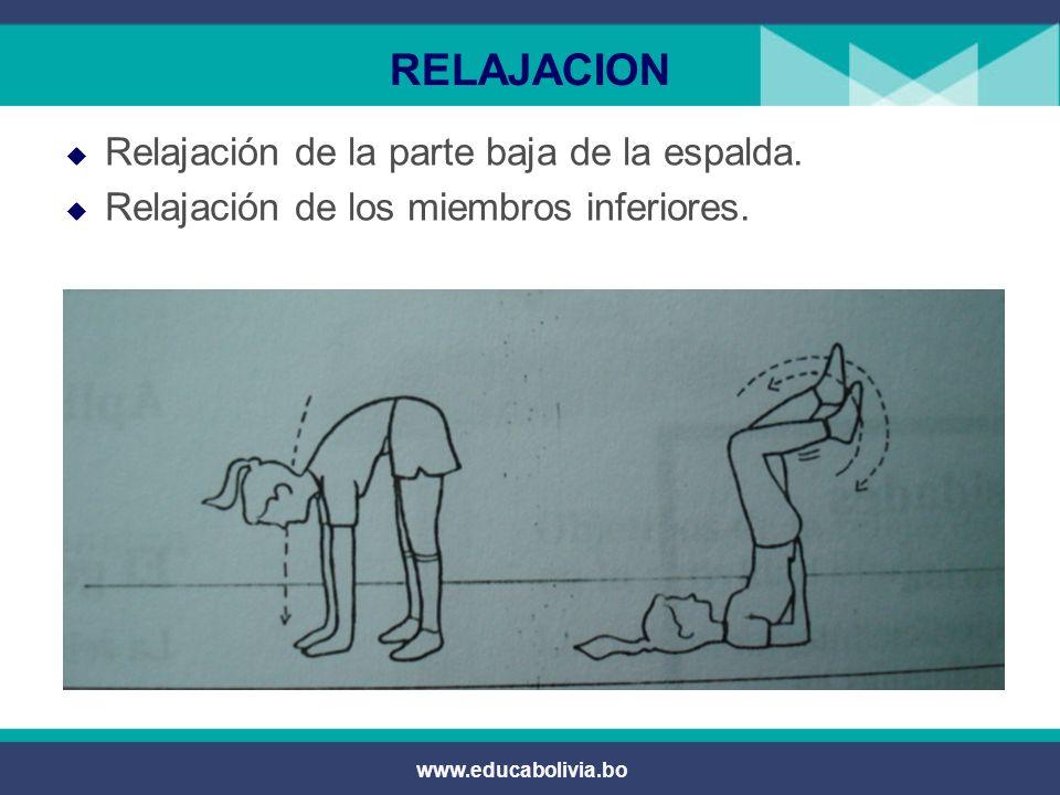 www.educabolivia.bo RELAJACION En posición tendido dorsal, realizar respiraciones profundas y exhalaciones controladas.