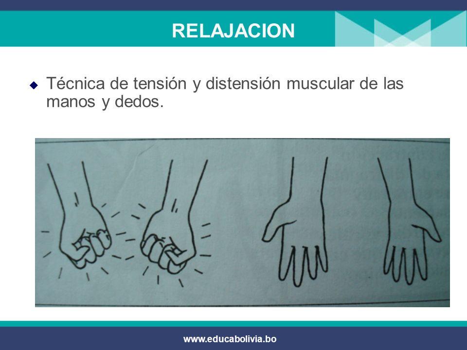 www.educabolivia.bo RELAJACION Por parejas: Sacudones o vibraciones. Extensión dorsal