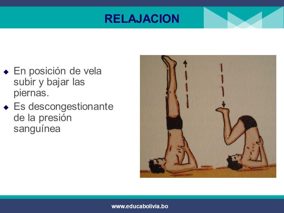 www.educabolivia.bo RELAJACION Soltura de la tensión ejercida en la cadera y glúteo.