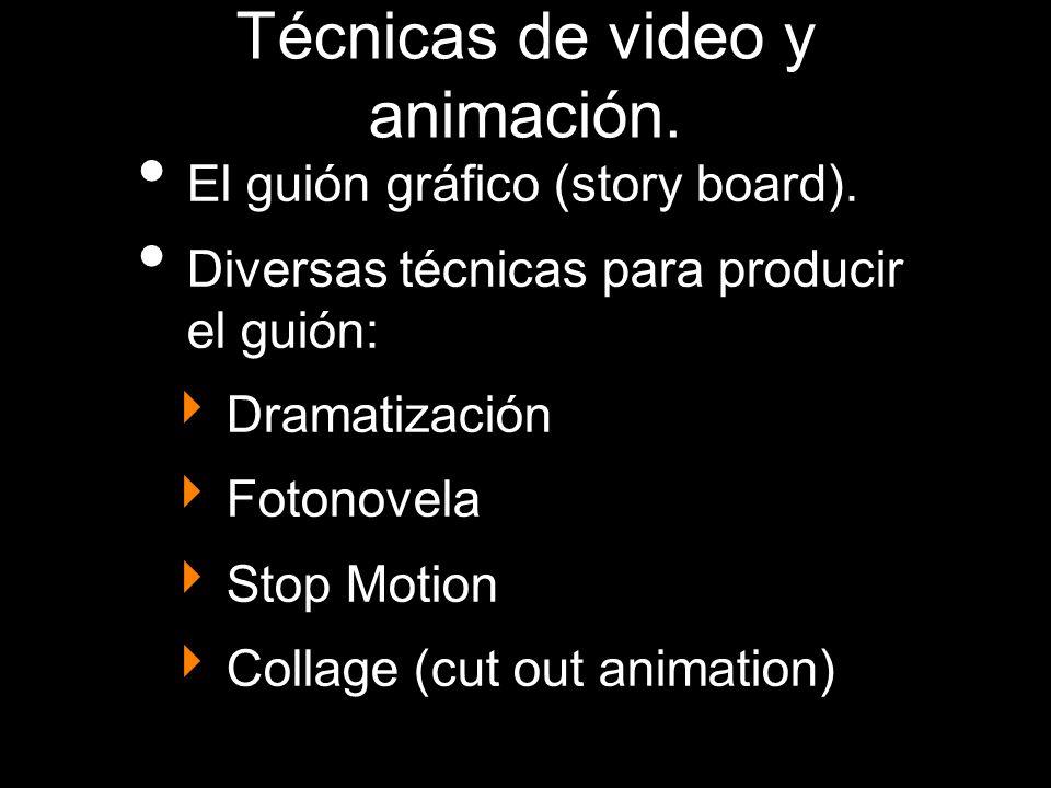 Técnicas de video y animación. El guión gráfico (story board). Diversas técnicas para producir el guión: Dramatización Fotonovela Stop Motion Collage