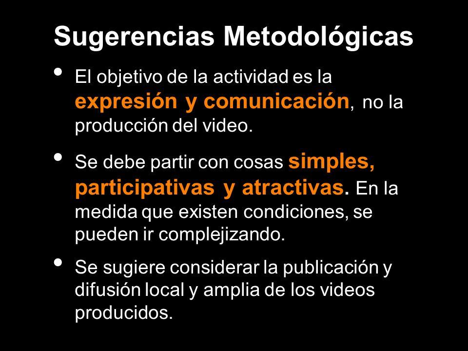 Sugerencias Metodológicas El objetivo de la actividad es la expresión y comunicación, no la producción del video. Se debe partir con cosas simples, pa