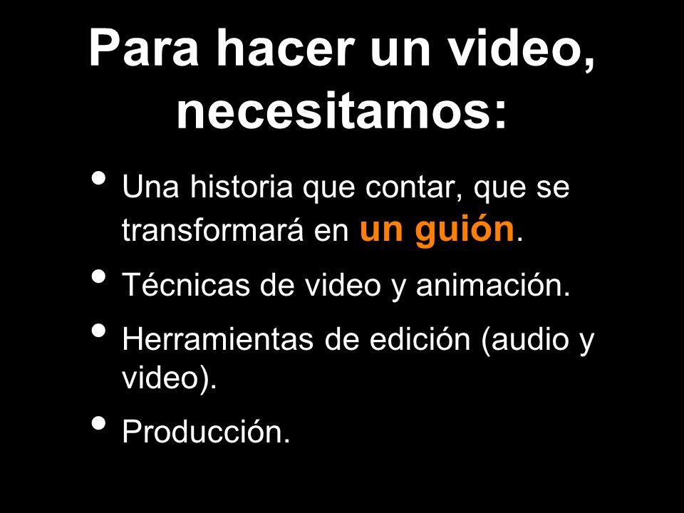Para hacer un video, necesitamos: Una historia que contar, que se transformará en un guión. Técnicas de video y animación. Herramientas de edición (au