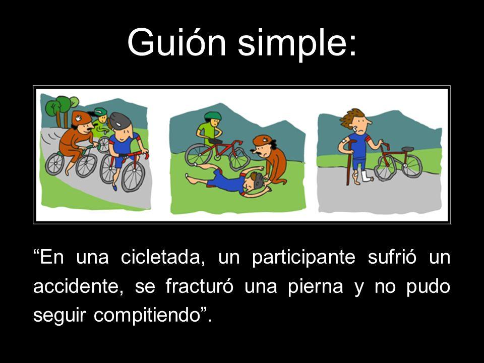 Guión simple: En una cicletada, un participante sufrió un accidente, se fracturó una pierna y no pudo seguir compitiendo.