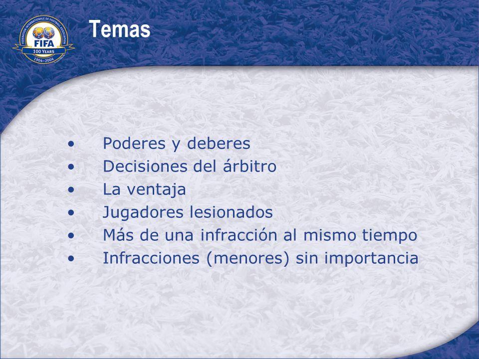 Temas Poderes y deberes Decisiones del árbitro La ventaja Jugadores lesionados Más de una infracción al mismo tiempo Infracciones (menores) sin import