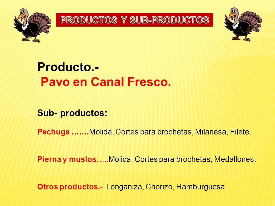 Producto.- Pavo en Canal Fresco. Sub- productos: Pechuga …….Molida, Cortes para brochetas, Milanesa, Filete. Pierna y muslos…..Molida, Cortes para bro