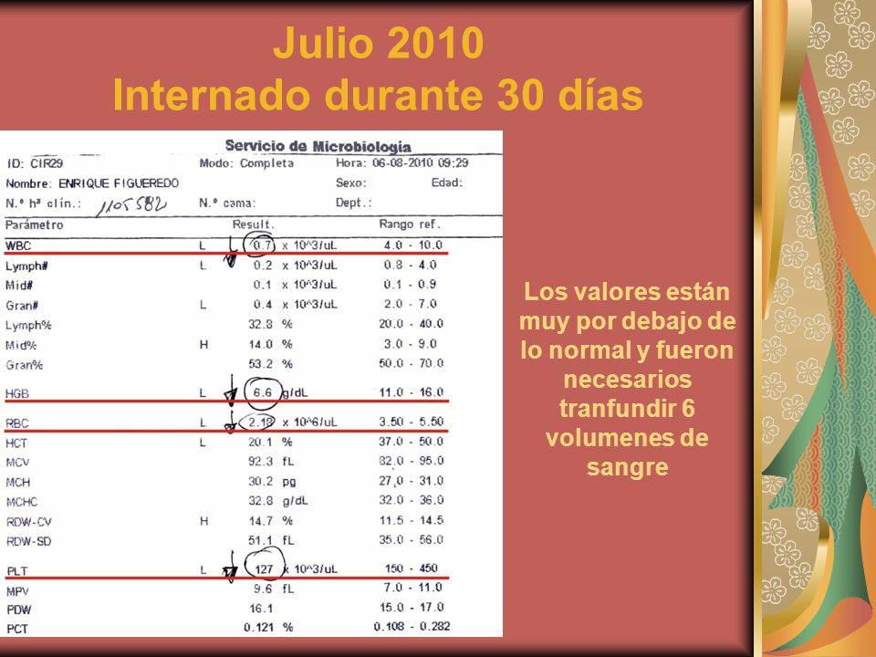 Julio 2010 Internado durante 30 días Los valores están muy por debajo de lo normal y fueron necesarios tranfundir 6 volumenes de sangre