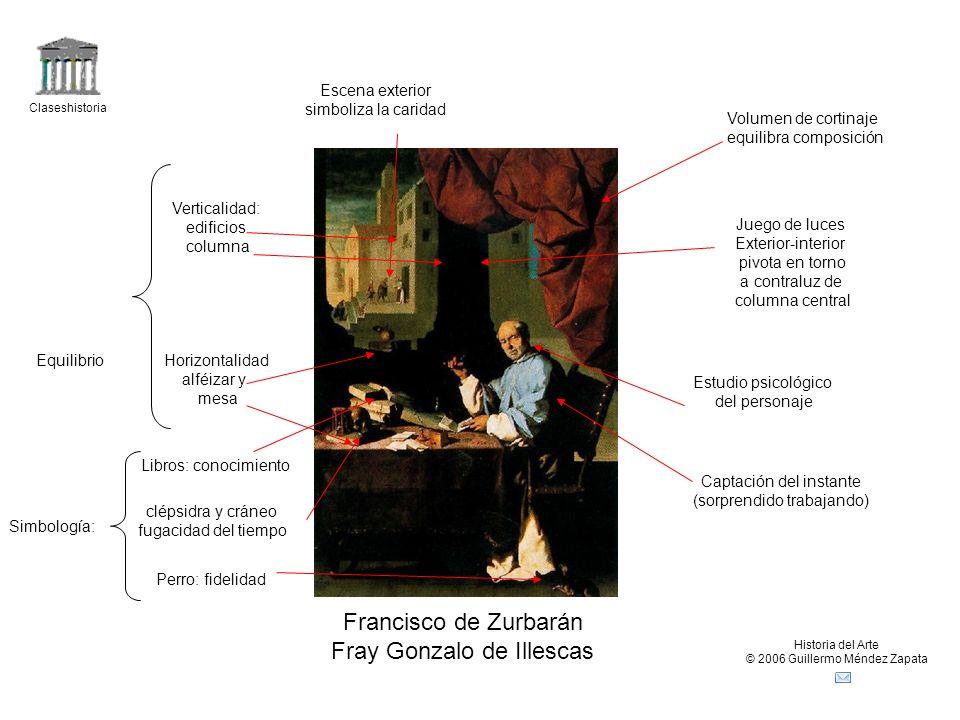 Claseshistoria Historia del Arte © 2006 Guillermo Méndez Zapata Francisco de Zurbarán Fray Gonzalo de Illescas EquilibrioHorizontalidad alféizar y mes