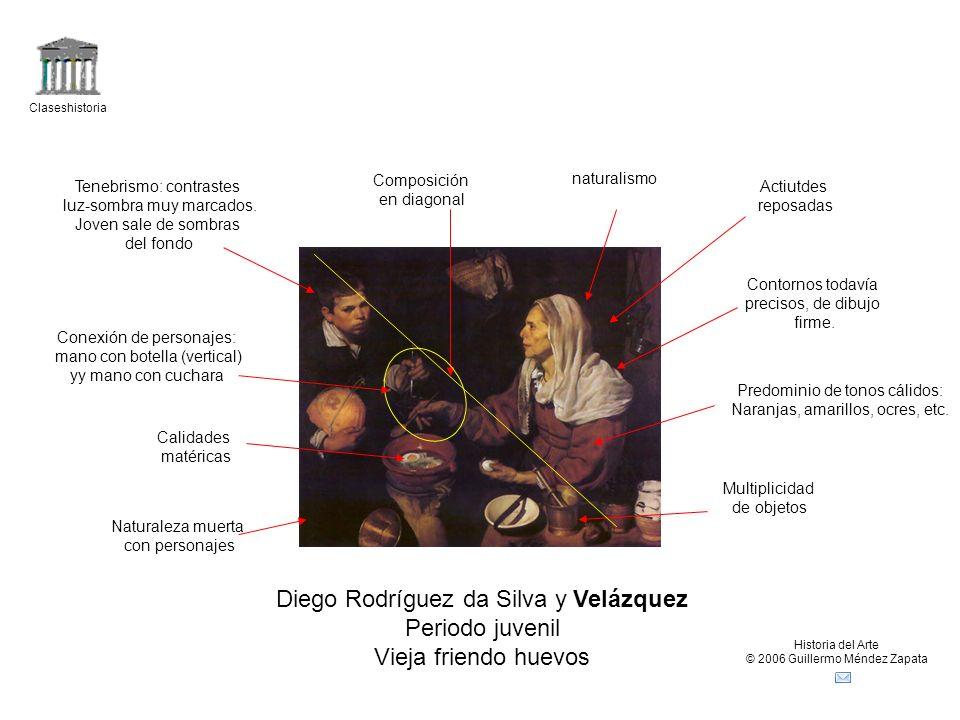 Claseshistoria Historia del Arte © 2006 Guillermo Méndez Zapata Diego Rodríguez da Silva y Velázquez Periodo juvenil Vieja friendo huevos Naturaleza m