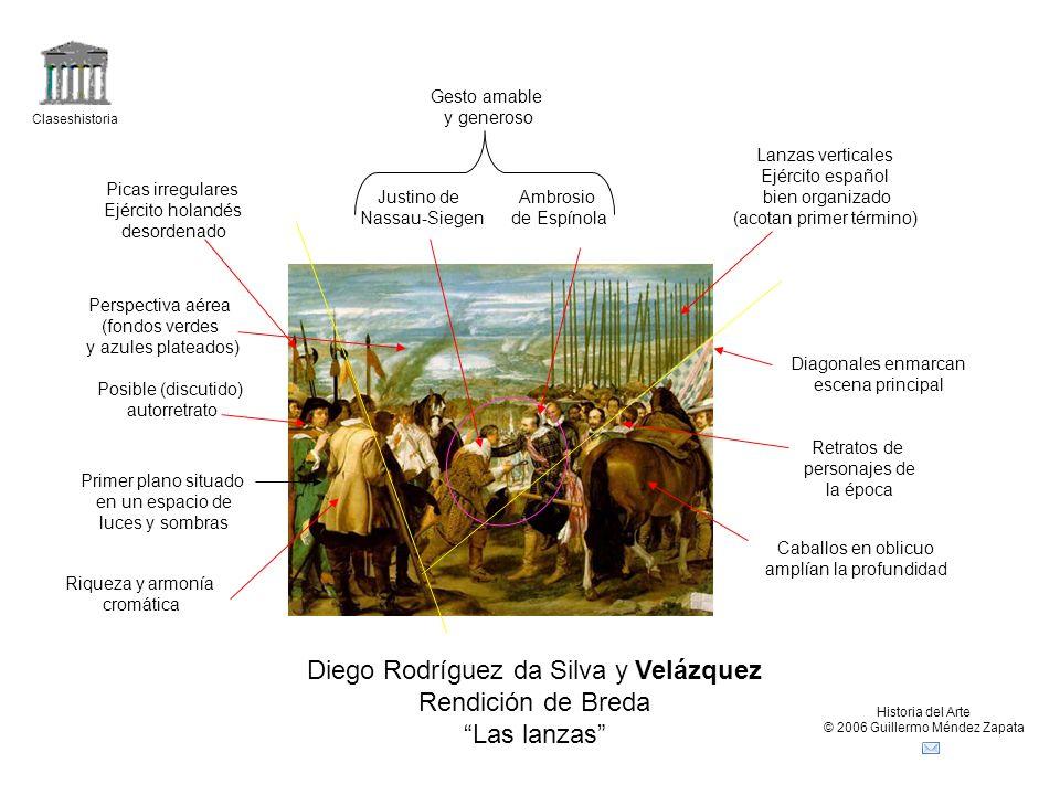 Claseshistoria Historia del Arte © 2006 Guillermo Méndez Zapata Diego Rodríguez da Silva y Velázquez Rendición de Breda Las lanzas Caballos en oblicuo