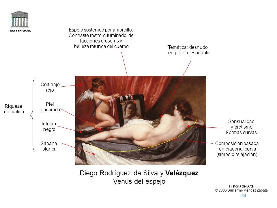 Claseshistoria Historia del Arte © 2006 Guillermo Méndez Zapata Diego Rodríguez da Silva y Velázquez Venus del espejo Composición basada en diagonal c